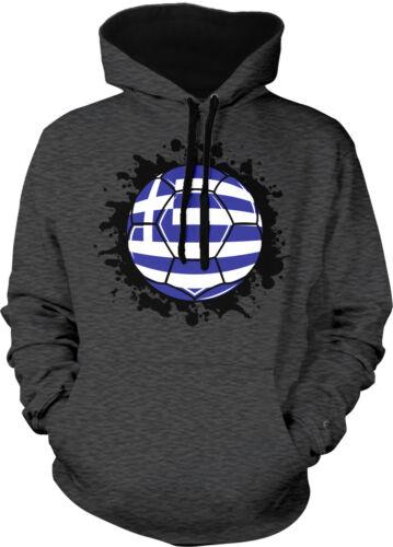 Greece Soccer Ball Flag Greek Pride Hellenic Republic 2-tone Hoodie Pullover