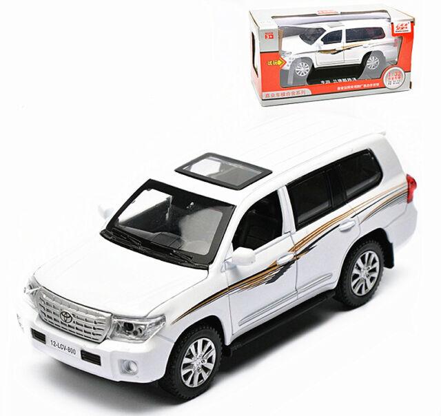 Toyota Land Cruiser 200 Diecast Metal Model Toy Car Sound Light Pullback  White