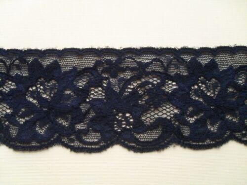 """Laces Galore Black Stretch Soft  Nottingham Lace 2.5/""""// 6.5 cm Trim"""