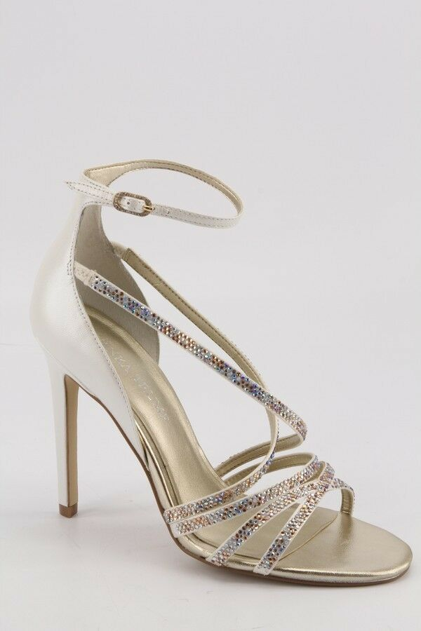 NEU Ivanka Trump Hyde WEISS Strappy Evening Sandales sz 9 Wedding Dress Heels