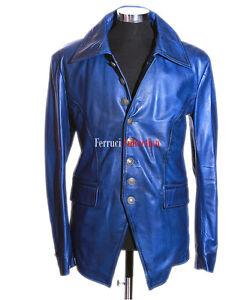 stile lucifero in da uomo Giacca blu gotico elegante pelle U7TvxXn