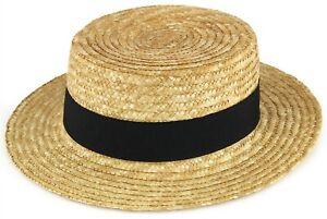 Homme ou Femme Straw boater hat chapeau de soleil marin écumeur de cap