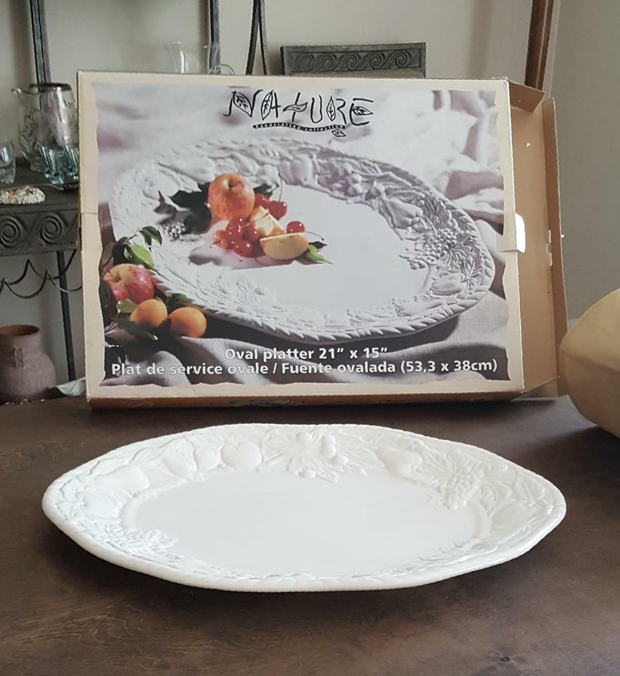 Invitations Nature Handcrafted Collection Large Oval Serving Platter