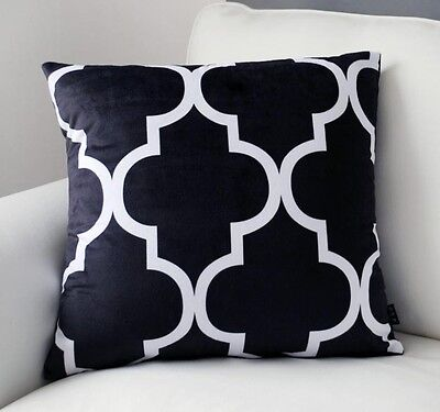 Black & White Lantern Pattern Pillow Case Velvet Decorative Cushion Cover 18""