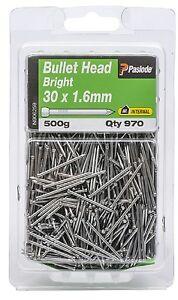 Paslode-BULLET-HEAD-NAILS-30x1-6mm-970-Pcs-Bright-Steel-amp-Plain-Shank-Aust-Brand