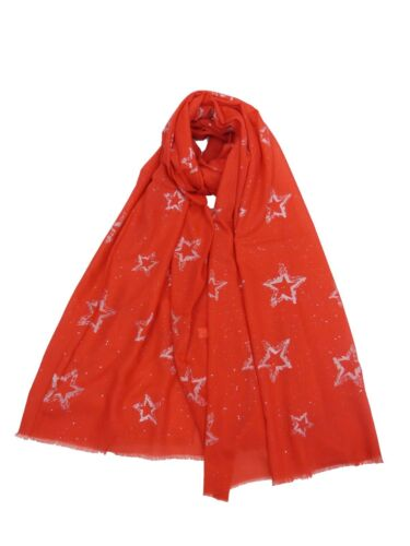 LADIES SILVER STAR SCARF  SILVER GLITTER STARS SUPERB QUALITY SARONG