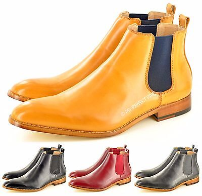 Mens Chelsea Boots Pointed Toe Ankle