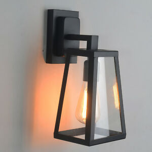 Bathroom Wall Sconces Black : Antique Matte Glass Black Lantern Outdoor Wall Sconce Light Bathroom Bedroom eBay