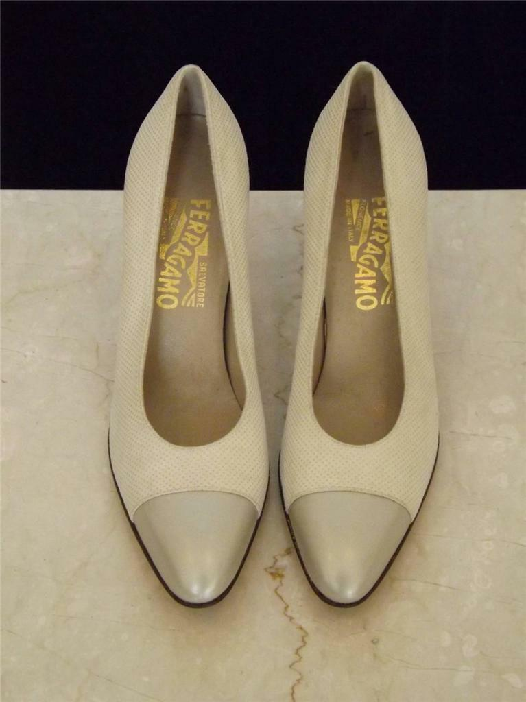 SALVATORE SALVATORE SALVATORE FERRAGAMO TAUPE LEATHER CAPTOE SPECTATOR PUMP PEWTER schuhe 8.5 AAAA f3a222