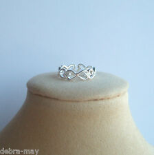 Eternity Love Hearts Bow Knot Adjustable Band Pinky Finger Toe Ring in Gift Bag