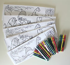 SET OF 5 COLOR ME PAPER SODA JERK HATS AND CRAYONS DINOSAUR AND ZOO