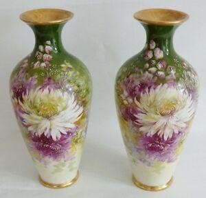 Paire De Vases En Porcelaine- Décor Aux Fleurs De Dalhia- Limoges- Fin XIX ème pEY8IVJq-07223719-643546376