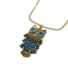 Art Deco vintage style gold tone multicoloured enamel old owl charm necklace