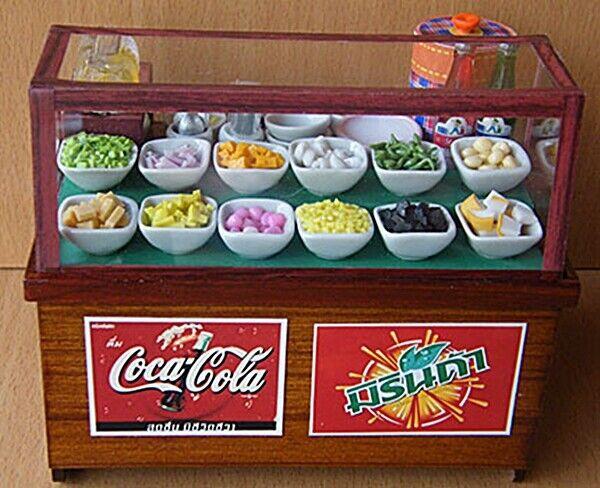 Sweet Nieve Hielo tienda de alimentos Street Casa De Muñecas Miniaturas tailandés tradicional vintage  1