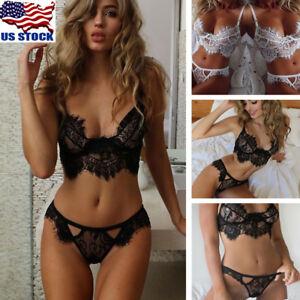 USA-Womens-Lingerie-Corset-Lace-Push-Up-Vest-Top-Bra-Pants-Set-Underwear-Suit
