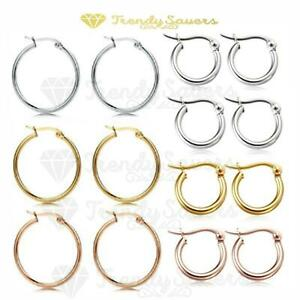 Non-allergenic-Women-039-s-Silver-amp-Rose-Gold-Plated-Round-Hoop-Drop-Earrings-Pair