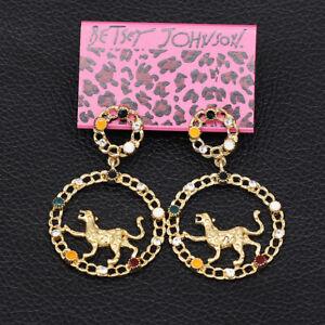 Betsey-Johnson-Enamel-Crystal-Leopard-Round-Dangle-Earbob-Women-039-s-Earrings-Gift