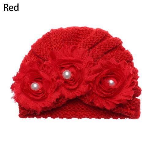 Fabric Floral Print pearl Infant Hat Turban Cap Newborn Head Wrap Baby Beanie