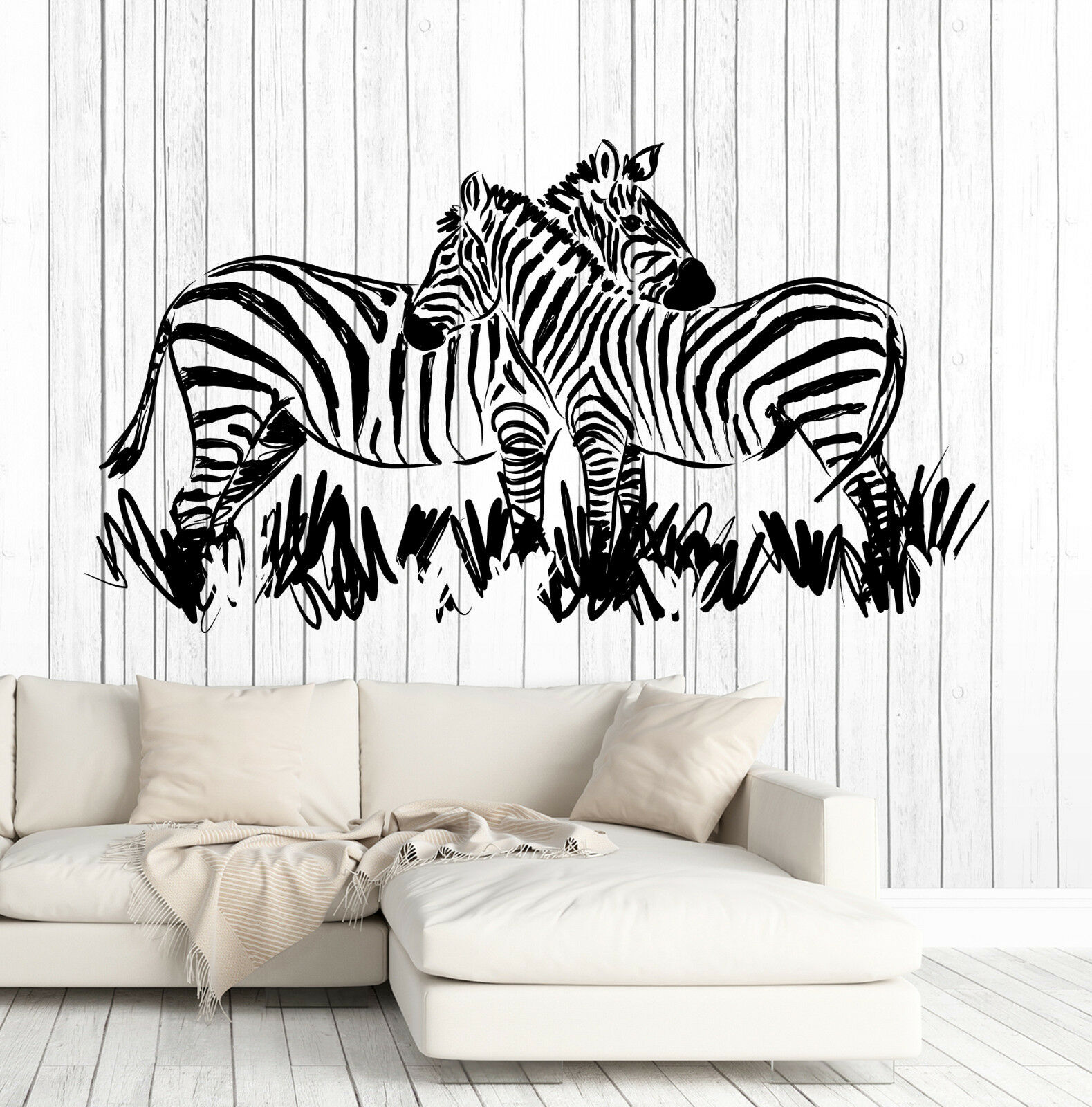 Wand Vinyl Decal African Landscape Wild Animals Pair of Zebras Decor z4607