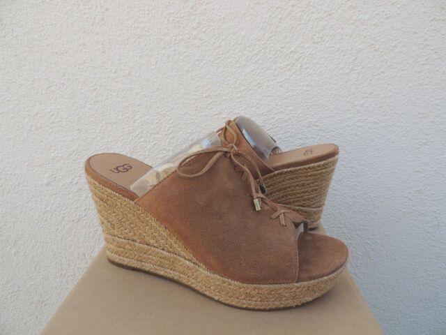 "1f8273b229d UGG Australia Giorgia Suede 4"" Platform Espadrille Wedge Sandal Us9.5 BLK"