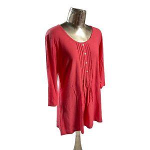 Pomodoro Cotton Coral Red Tunic Top NEW UK M 12 (EU40) Women's RRP £33
