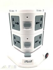 Vertical 7 Way+2 USB 4.5A Overload Protected  Extension Lead Socket 7Gang- 3m
