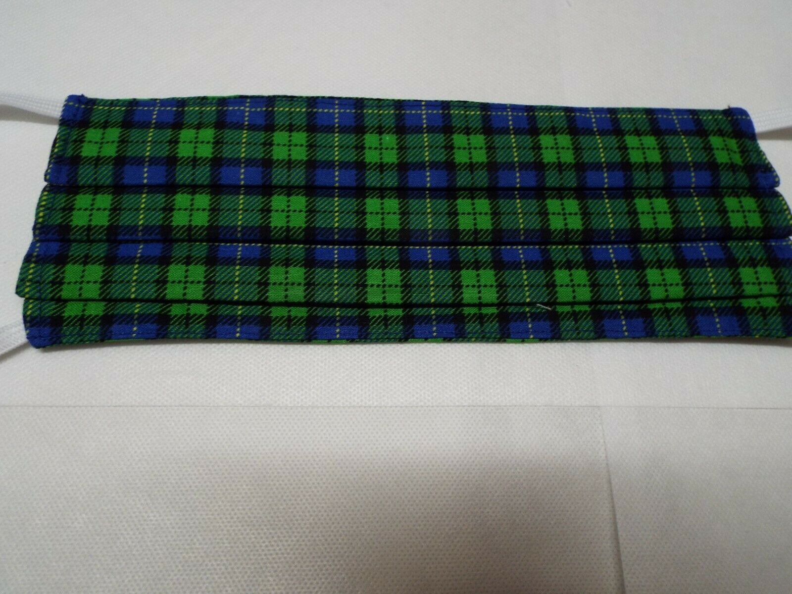 Blue and Green Plaid JD Print Personal Protective Washable Facemasks