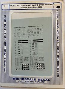 MICROSCALE N SCALE - TTX GUNDERSON MAXI III 5-UNIT ARTIC. DBL-STACK CARS #60-792