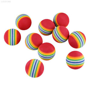 1117-10Pcs-Rainbow-Stripe-Foam-Sponge-Golf-Tennis-Ball-Practice-Training-Aid