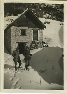 PHOTO-ANCIENNE-VINTAGE-SNAPSHOT-MILITAIRE-CHASSEUR-ALPIN-MONTAGNE-MILITARY-1