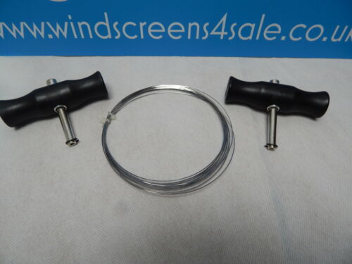 """ONE WINDSCREEN REMOVAL CUTTING WIRE SQUARE ECTION- PLUS /""""T/"""" HANDLES 0.6mm x 6M"""