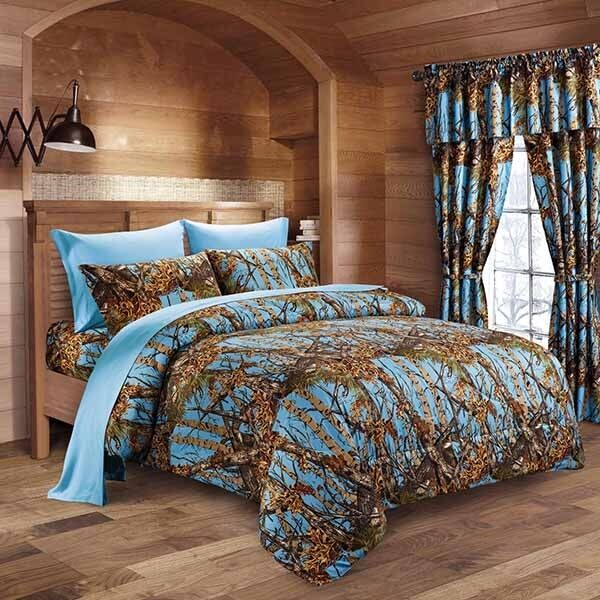 The Woods Queen Powder bluee Camo 7 Piece Bedding Set Comforter and Sheets