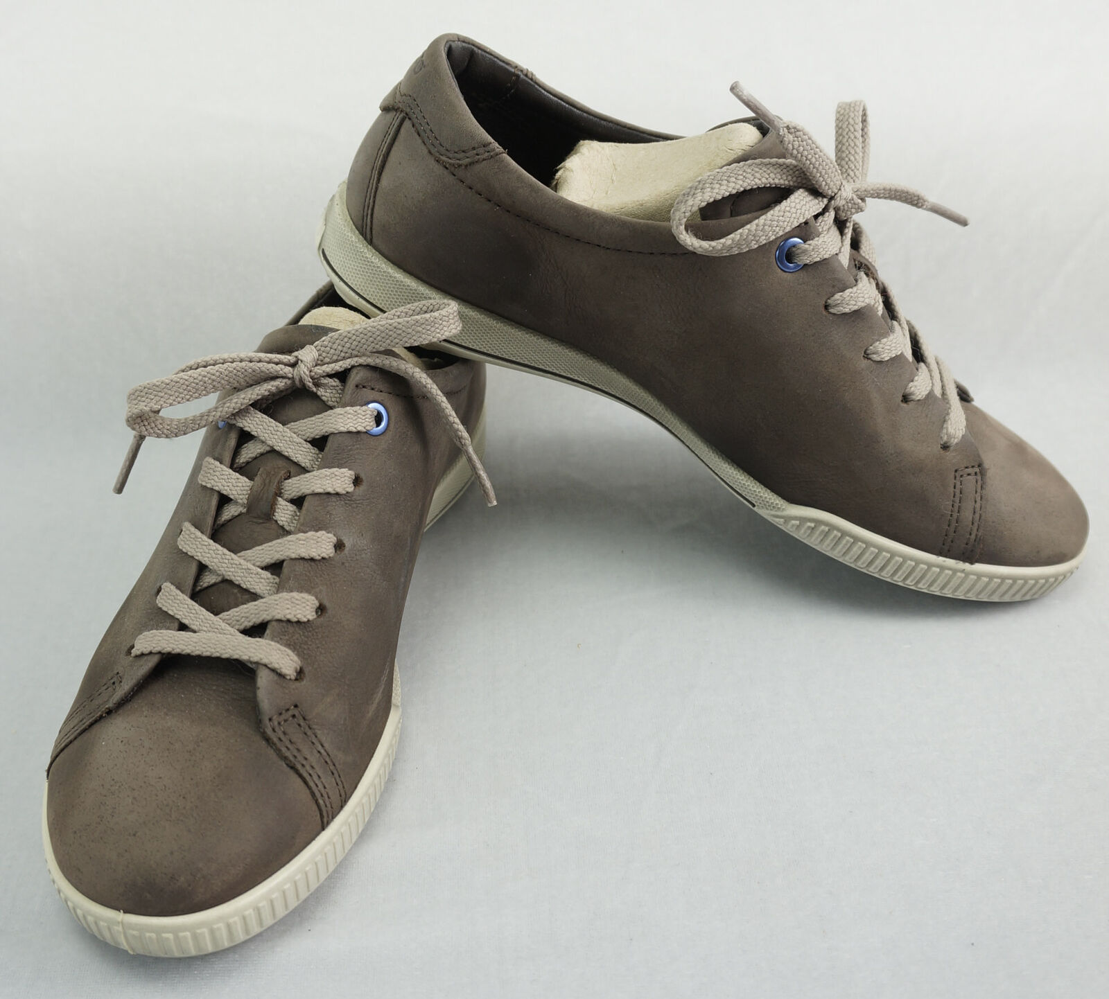 Ecco Brown Leather Suede Tennis Shoes Sneakers