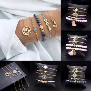 5-4pcs-set-Women-Love-Heart-Weave-Rope-Beaded-Bracelet-NEW-Fashion-Jewelry-Gifts