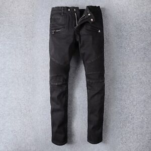 Para-Hombre-Stretch-Biker-Skinny-Jeans-Slim-Fit-Pantalones-de-Motocicleta-Retro-Pantalones-Negro