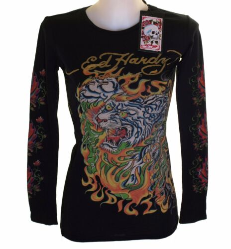 New Women/'s Ed Hardy Long Sleeve Specialty T Shirt Black Stretch Flaming Tiger