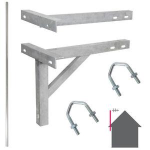 8-Foot-2-44m-TV-Aerial-Pole-amp-T-K-Bracket-Long-Mast-Wall-Mounting-Install-Kit