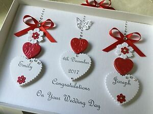 Handmade personalised boxed red wedding day card engagement ruby
