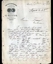 """PARIS (II°) USINE d'ETOFFES pour AMEUBLEMENT """"G. BOYER"""" en 1882"""