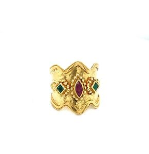 18K-Yellow-Gold-Women-039-s-Red-Marquise-Ruby-and-Green-Emerald-Hammered-Ring-Size-8
