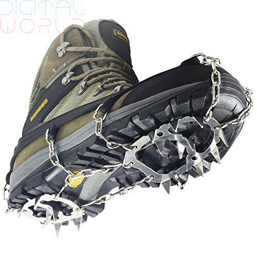 YUEDGE Ice Snow Grips 18 Teeth Stainless Steel Chain Crampons Non-slip shoes