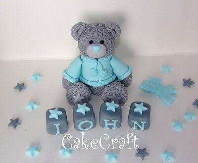 Christening Birthday Teddy bear blocks Edible Handmade cake decorations topper