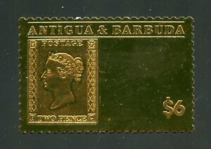 ANTIGUA GOLD FOIL STAMP ON stamp GREAT BRITAIN 2p QV MINT NH OFFICIAL ISSUE#13