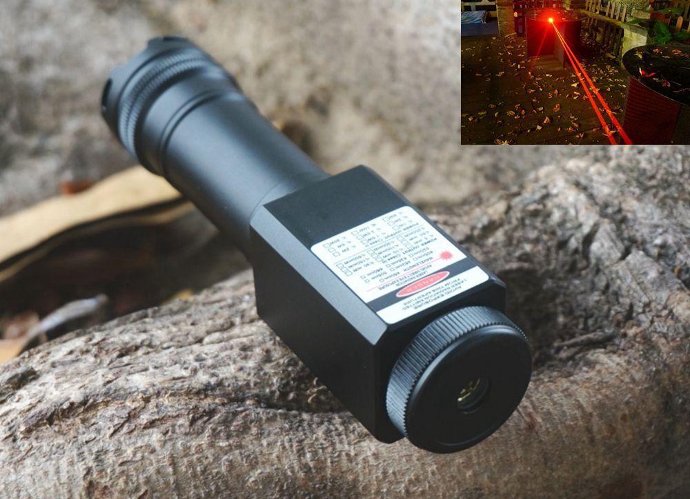 Waterproof Focusable 635nm 638nm orange Red Laser Pointer LED Torch Dual Beam
