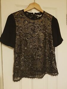 Tibi Ladies Top Gold Black And Xs 6OrxqU6dw