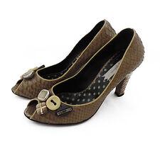 Bb by mario Bolonia pumps 38 marrón reptil zapatos de piel tacones Made in Italy