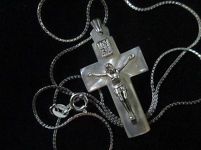 Handmade Mother of Pearl Celtic Cross 3.5cm Sterling Silver Bethlehem Palestine