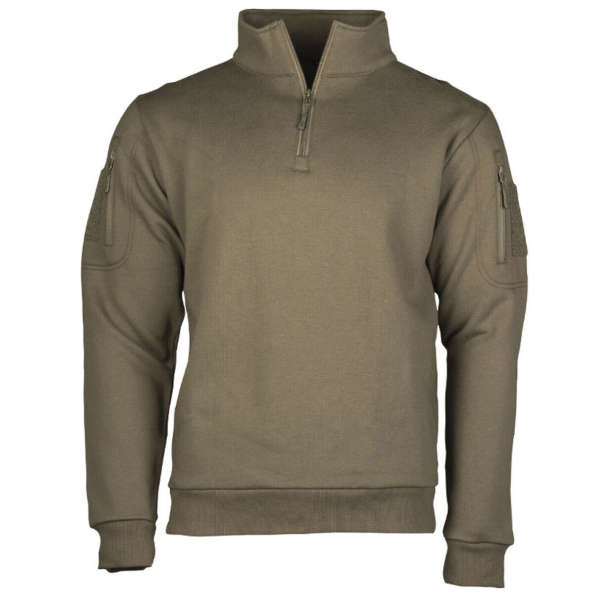 MIL-TEC TACTICAL SWEATER WITH 1/4 ZIP Mens Military Hiking Jumper Olive Green