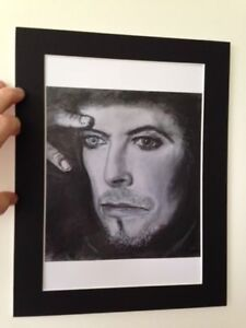 "David Bowie original Art ""Thoughtful"" 14"" x 11"" A4 Mounted Print"