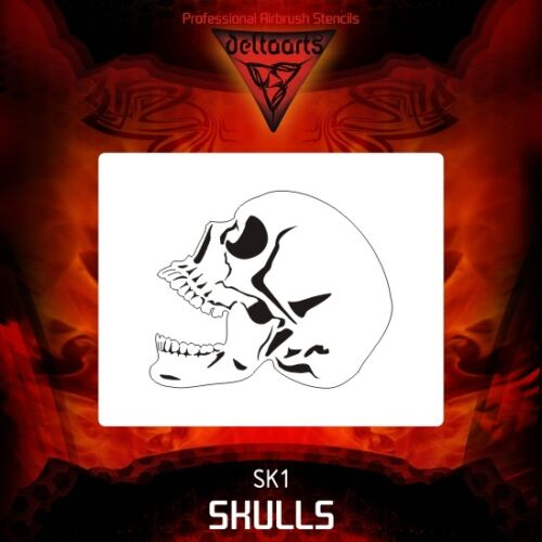 Airbrush stencil template DELTAARTS SKULL 1-4 SIZES AVAILABLE MINI MID